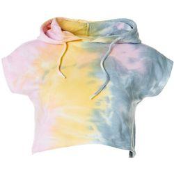 Juniors Tie Dye Pastel Crop Hoodie Top