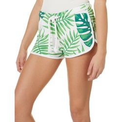Southeren Spirit Juniors Palm Leaf Print Drawstring Shorts