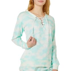 Exist Juniors Tie Dye Lace-Up Long Sleeve Sweatshirt