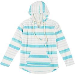 Juniors Stripe Long Sleeve Hoodie