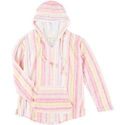 Juniors Vertical Stripe Long Sleeve Hoodie
