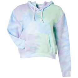 Exist Juniors Tie Dye Cropped Hooded Front Pocket Sweatshirt