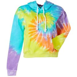 Exist Juniors Tie Dye Cropped Hooded Front Pocket