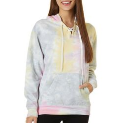 Exist Juniors Tie Dye Lace- Up Hooded Sweatshirt