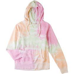 Dreamsicle Juniors Tie Dye Cropped Hooded Hoodie
