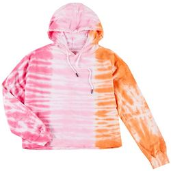 Dreamsicle Juniors Tie Dye Cropped Hooded Sweatshirt