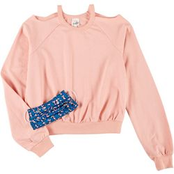 Belle Du Jour Juniors 2-Pc. Crop Cutout Sweater