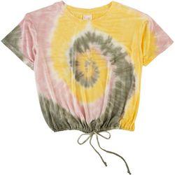 Belle Du Jour Juniors Tie Dye Cropped Tie Hem T-Shirt