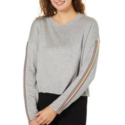 No Comment Juniors Cropped Athletic Striped Long Sleeve Top