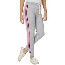 No Comment Juniors Athletic Striped Jogger Pants