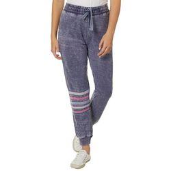 No Comment Juniors Striped Burnout Jogger Pants