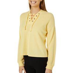 No Comment Juniors Super Soft Lace-Up Hooded Sweatshirt