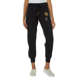 No Comment Juniors Plaid Star Jogger Pants