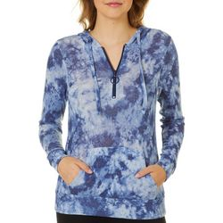 No Comment Juniors Tie Dye Half Zip Hooded Sweatshirt