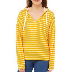 No Comment Juniors Stripe Hooded Sweatshirt