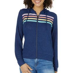 No Comment Juniors Stripe Heathered Zippered Jacket
