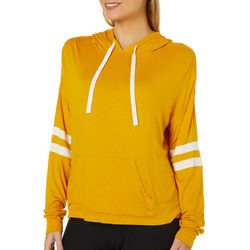 No Comment Juniors Athletic Stripe Long Sleeve Hooded Top