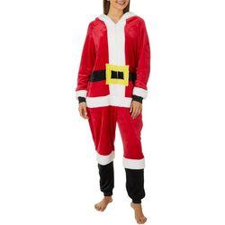 Derek Heart Juniors Santa Zippered Long Sleeve Jumpsuit