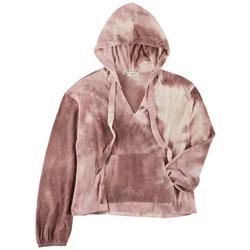 Juniors Printed Long Sleeve Hooded Top