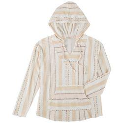 Wallflower Juniors Tribal Print Drawstring Hooded Sweatshirt