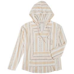 Juniors Tribal Print Drawstring Hooded Sweatshirt