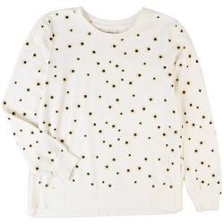Juniors Daisy Printed Long Sleeve Top
