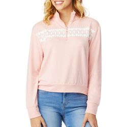 Wallflower Juniors Solid Lace Embroidered Sweatshirt