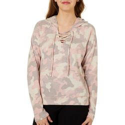 Almost Famous Juniors Hooded Camo Print Lace-Up Top