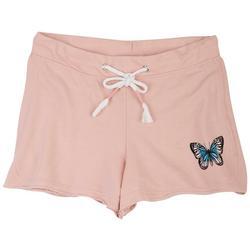 Juniors Raw Hemline Butterfly Short