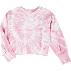 Full Circle Trends Juniors Tie-Dye Cropped Sweatshirt