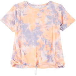 Full Circle Trends Juniors Tie Dye Ruched Tee