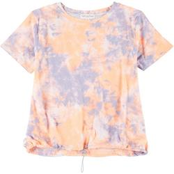 Juniors Tie Dye Ruched Tee