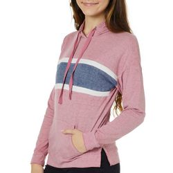 Pink Rose Juniors Stripe Heathered Hooded Sweatshirt