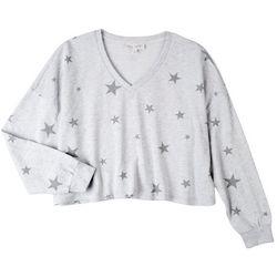 Pink Rose Juniors All-over Stars Sweatshirt