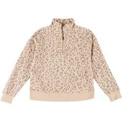 Pink Rose Juniors Camo Quarter Zip Pullover