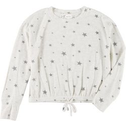 Pink Rose Juniors Star Long Sleeve Tie Front Sweater
