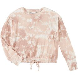 Pink Rose Juniors Tie Dye Long Sleeve Tie Front Sweater