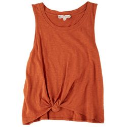 Bozzolo Juniors Tie Front Solid Crop Sleeveless Top