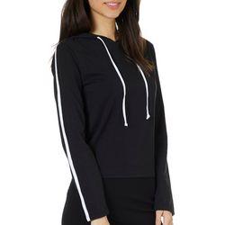 Savante Apparel Juniors Single Stripe Hooded Long Sleeve Top
