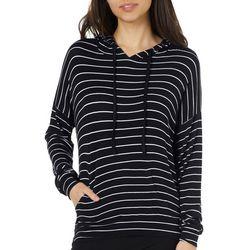 Savante Apparel Juniors Striped Hooded Pullover Top