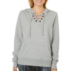 Angel Kiss Juniors Heathered Lace-Up Hoodie