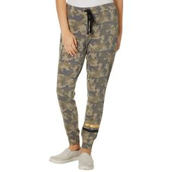 Rewash Juniors Metallic Stripe Camo Print Jogger Pants