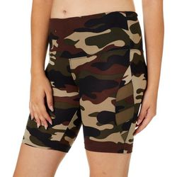Glitz Juniors Camo Print High Waisted Mesh Panel Bike Shorts