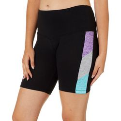Glitz Juniors High Waisted Solid Colorblock Bike Shorts
