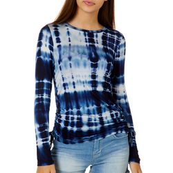 Moral Fiber Juniors Tie Dye Ruched Side Long Sleeve Top