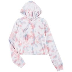 Messy Buns, Lazy Days Juniors Tie-Dye Cropped Hoodie