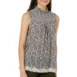 Rewind Juniors Leopard Print Lace Trim Sleeveless Top