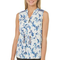 Rewind Juniors Floral Medallion Tassel Top