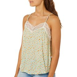 Rewind Juniors Floral Lace Trim Tank Top