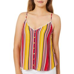 Rewind Juniors Striped Covered Button Tank Top
